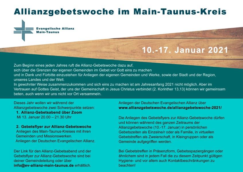 Allianz-Gebetswoche 2021der ev. Allianz Main-Taunus